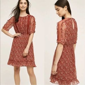 Anthropologie Floreat Amber Ruffle A-LIne Dress